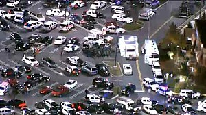 Aerial view of police at Garden State Plaza