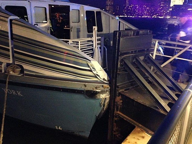 A ferry boat after making a hard landing at Exchange Place in Jersey City