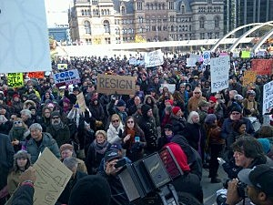 Protesters calling for Toronto Mayor Ron Ford to resign outside City Council hearing