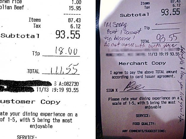 Customer copy of receipt (L) and copy with message posted by Dana Morales