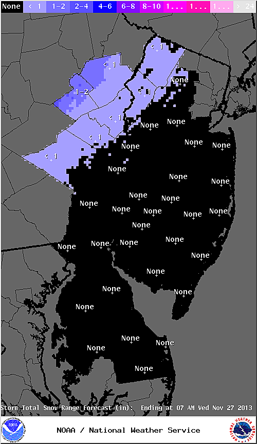 Expected snowfall from Nor'easter