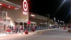 Gray Thursday shoppers wait for Target in Manahakwin to open