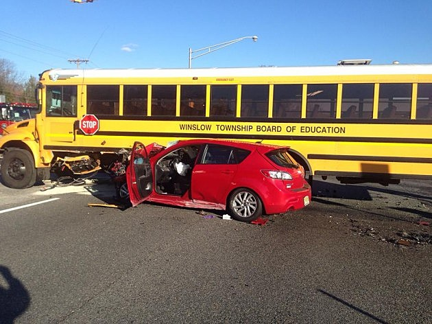 School bus accident on Route 73 in Winslow