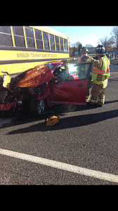 School Bus Car Collide In Winslow