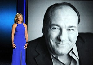 Actress Edie Falco pays tribute to the late James Gandolfini onstage during the 65th Annual Primetime Emmy Awards
