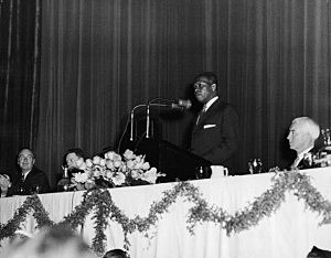 South African president Nelson Mandela speaks at a conference in the early 1960s.