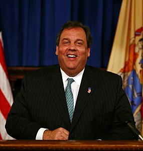 Governor Chris Christie answers press questions at the Statehouse