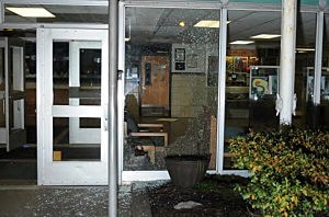 Damage done to the front entrance at Sandy Hook Elementary School following the December 14, 2012 shooting rampage