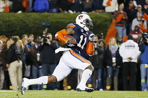 Chris Davis #11 of the Auburn Tigers returns a missed field goal for the winning touchdown in their 34 to 28 win over the Alabama Crimson Tide