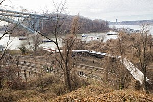 Emergency crews respond after Metro-North train derailed near the Spuyten Duyvil station in the Bronx
