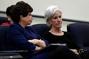 Health and Human Services Secretary Kathleen Sebelius (R) sits with Senior Advisor to the President Valerie Jarrett (L) before U.S. President Barack Obama spoke on the Affordable Care Act