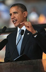 President Barack Obama speaks during the official memorial service for former South African President Nelson Mandela