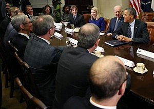 President Barack Obama (R) and Vice President Joe Biden (2R) meet with executives from leading technology companies on Tuesday