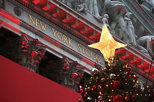 Lights for the holidays illuminate the New York Stock Exchange