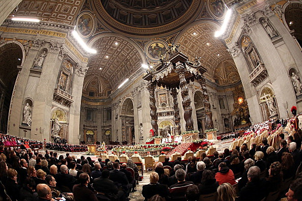 A view of St. Peter's Basilica during the Christmas night mass leads by Pope Francis