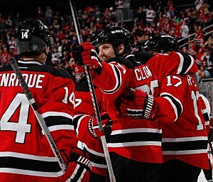 Ryane Clowe #29 of the New Jersey Devils celebrates a goal scored by teammate Michael Ryder #17 in the second period