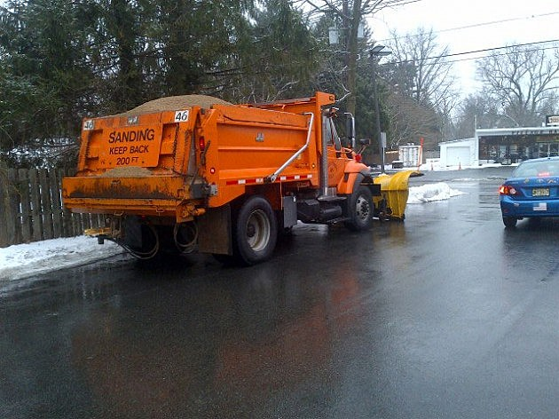 A Mercer County DOT truck waiting for the snow in Ewing