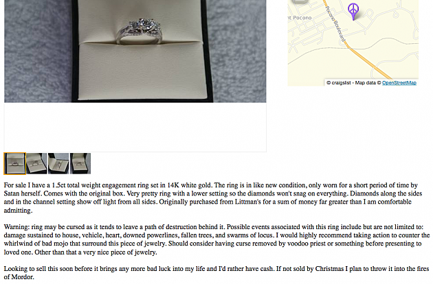 Craiglist Ring Ad Worn by Satan