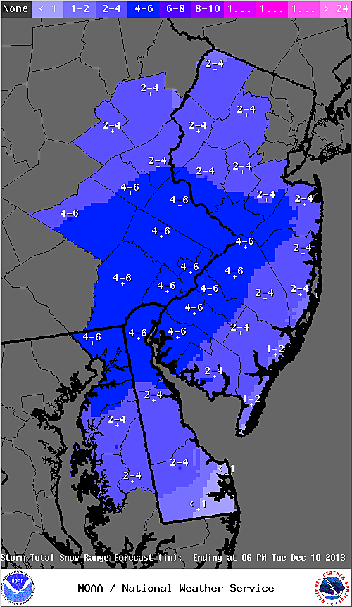 Expected snow totals from Tuesday' snow