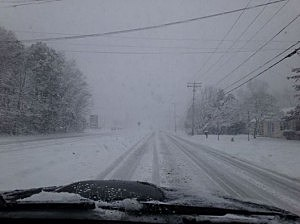 Snow on Fischer Boulevard in Toms River