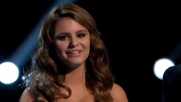 Jacquie Lee just before the winner was annnounced on The Voice