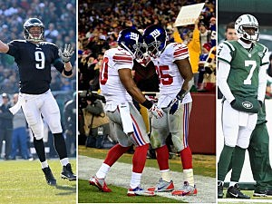 (L-R) Eagles QB Nick Foles, Andre Brown & VIctor Cruz of the Giants amd Jets QB Gino Smith (Getty Images)