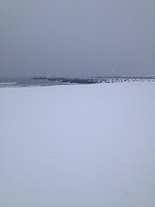 Snow on the beach at Manasquan Inlet