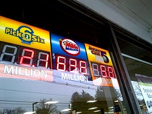 Tuesday's Mega Millions jackpot is displayed at 7-11 in Ewing