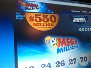 Mega Millions website displays Tuesday's jackpot
