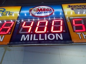 Mega Millions jackpot for Friday displayed at the 7-11 in Ewing