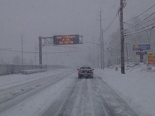 Snow on Route 37 in Toms River