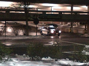 Police cruiser in a parking deck at The Mall at Short Hills