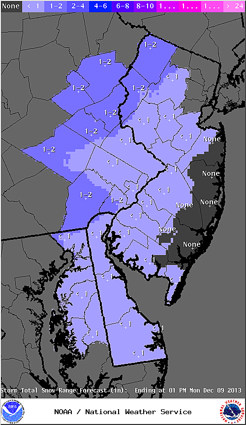 Revised snow accumulation map from the National Weather Service