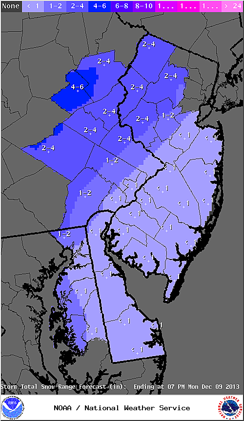 Expected snow totals from Sunday's storm
