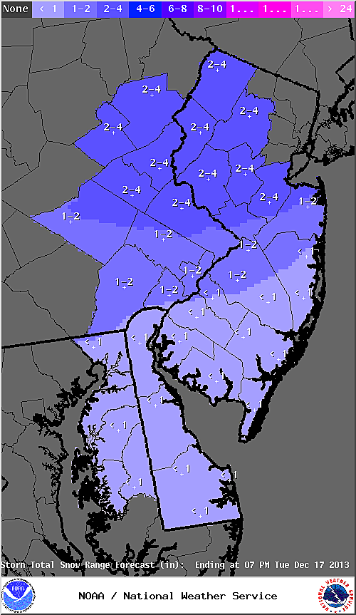Expected snow totals from Tuesday's snow