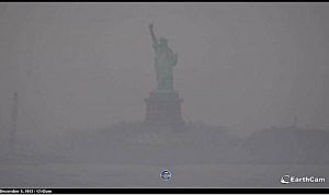 The Statue of Liberty in the fog on Thursday morning