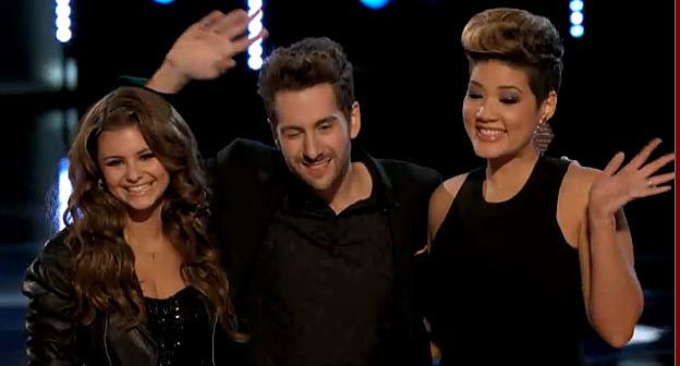 (L-R) Voice finalists Jacqioe Lee, Will Champlain and Tessanne Chin