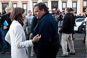 Mayor Dawn Zimmer (L) of Hoboken chats with New Jersey Governor Chris Christie (R) prior to a joint press conference on November 4, 2012 in Hoboken,
