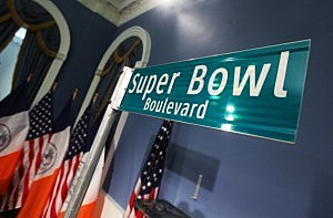 "A ""Super Bowl Boulevard"" sign"