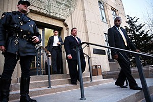 Gov. Chris Christie leaves Fort Lee Borough Hall