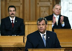 New Jersey Gov. Chris Christie delivers the State of the State Address in the Assembly Chambers at the Statehouse