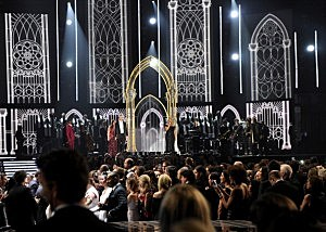 (L-R) Singer Mary Lambert, rapper Macklemore, singer/actress Queen Latifah, and musician Ryan Lewis perform onstage during the 56th Grammy Awards