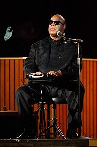 Stevie Wonder onstage during the 56th Grammy Awards show