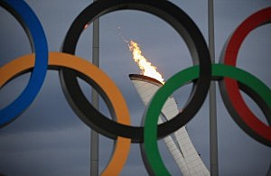 The Olympic Cauldron is tested by fire crews at the Sochi 2014 Winter Olympic Park