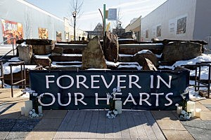 A outdoor memorial site has been set up at the Mall in Columbia