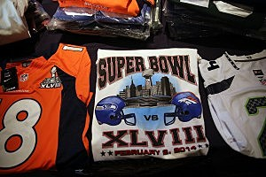 Officials In NYC Hold News Conference On Counterfeit Super Bowl Merchandise