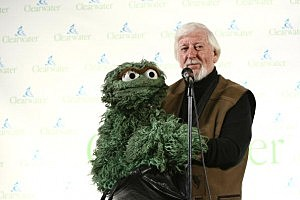 Oscar the Grouch attends the Clearwater Benefit Concert Celebrating Pete Seeger's 90th Birthday at Madison Square Garden in 1990