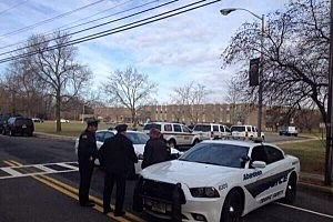 Police outside St, John Vianney School in Holmdel