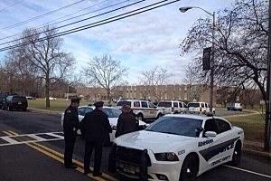 Police outside St, John Vianney School in Holmdel