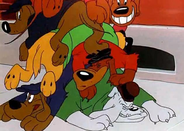 Bugs Bunny Classic Dog Pile on the Rabbit